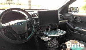 Getac V110 with a Havis Dock in a Ford Utility